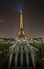 Eiffel Tower From Place du Trocadero - Paris France (DiGitALGoLD) Tags: paris france tower water fountain fire nikon long exposure place eiffel du ready aim 24mm nikkor waterfountain trocadero f28 d3 frpix