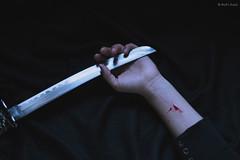 social relationships - hurt* (M.B.*) Tags: wolfkurai wolfskurai canon sensitive melancholy dead blood hands katana sword pain