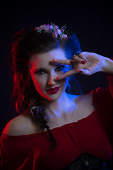 Destiny Murrell06_Notley Hawkins (Notley) Tags: lightpainting red blue light model portrait httpwwwnotleyhawkinscom notleyhawkinsphotography notley notleyhawkins 10thavenue 2017