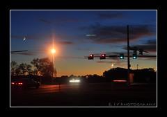 ... Day 66... Evening Lights (E. IV) Tags: street longexposure light red sun green car set corner drive evening streak stop poles