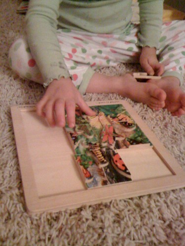 Minnow working her bug puzzle