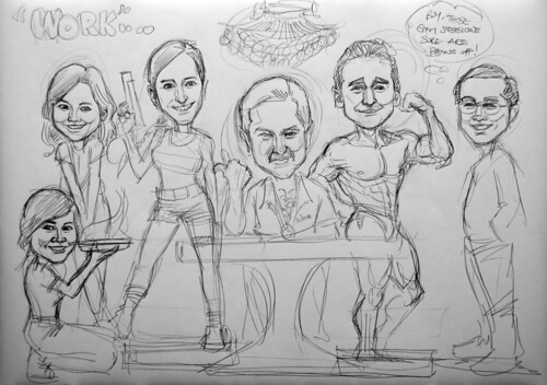 Caricatures for Morgan Stanley pencil sketch 2