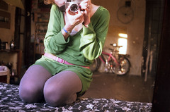 cann_fu_07 (mariczka) Tags: pink blue selfportrait reflection green film me girl analog mirror sitting bikes redhead 40mm f28 fujicolorsuperia200 canoncanonet28 mariczka 3zstudio vintageanalogue