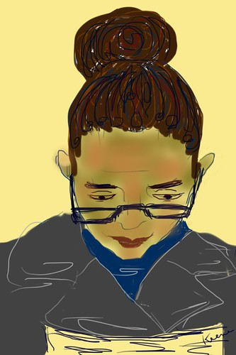 Woman on subway (iPhone drawing)
