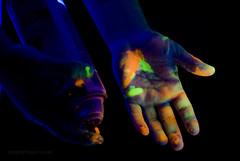 The Hands of a Painter (Paul McRae (Delta Niner)) Tags: halloween paint fluorescent blacklight glowy jilljohnson d800fr