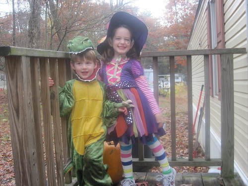 My Dinosaur and witch for 2009 Halloween