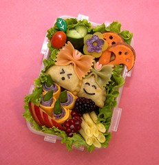 mushroom turnover bento (gamene) Tags: mushroom cheese cucumber tomatoes egg bento sweetpotato turnover snowpeas yellowwaxbeans