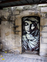 C215 - Saint Germain Church in Vitry-sur-Seine (Paris) (C215) Tags: door streetart building art church girl de french graffiti stencil praying christian saintgermain commission glise classified pochoir masacara szablon vitrysurseine c215 schablon gumy piantillas