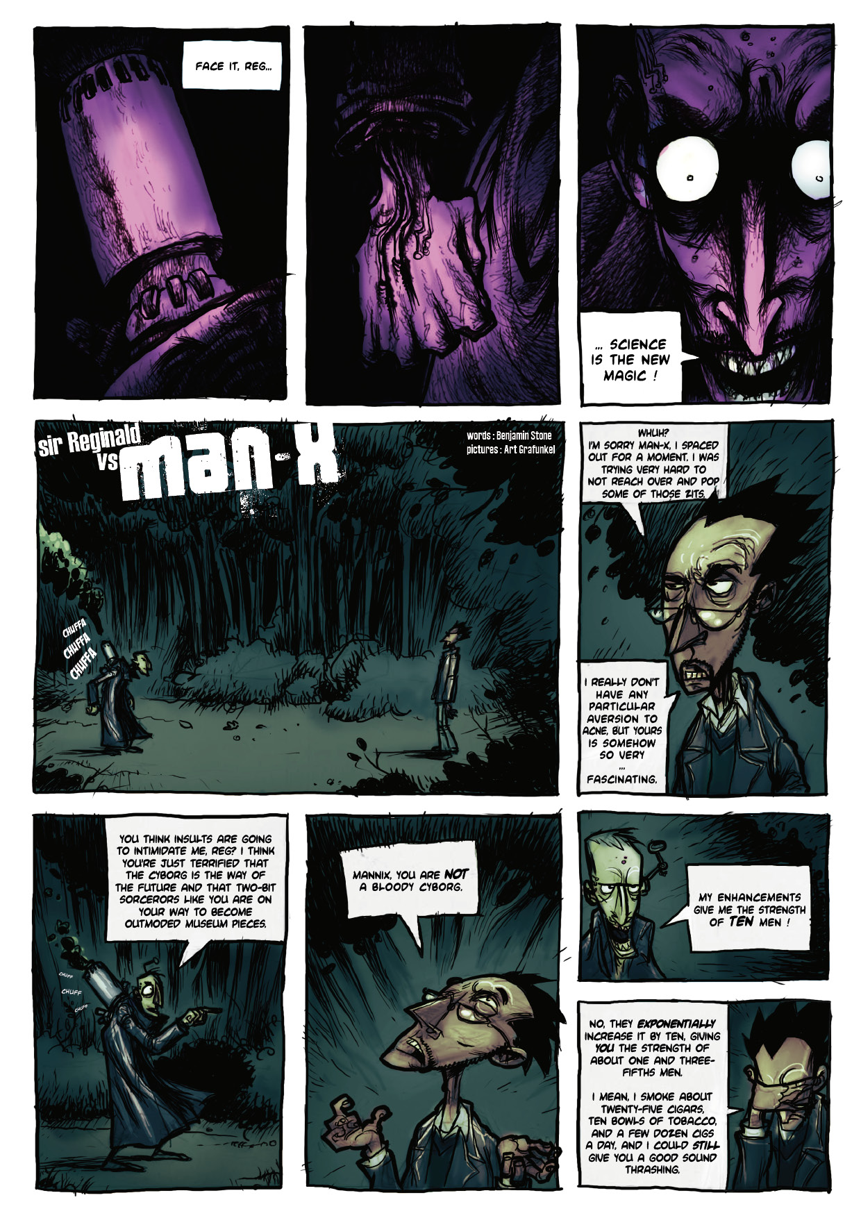 Sir Reginald vs Man-X page 1 by Art Grafunkel