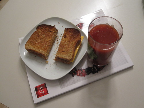 Cheese toast and tomato juice