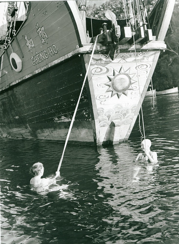Marian Fairchild and Anne Archbold swimming in the harbor at Siau Island