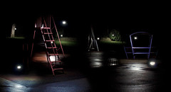park (Nick-Matthews) Tags: park color colour abandoned childhood playground metal horizontal night stairs dark fun outdoors evening play empty swings steps slide nobody structure swing illuminated nighttime vacant swingset recreation lit railing recess playgroundequipment publicpark