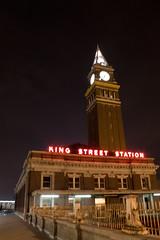 King Street Station (.aditya.) Tags: seattle downtown clocktower longshutter kingstreetstation neonlamp canon1855f3556is