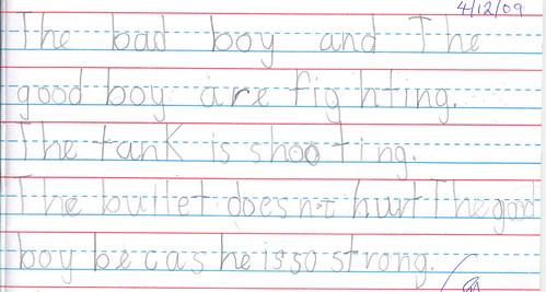 Grade 1 Student Writing
