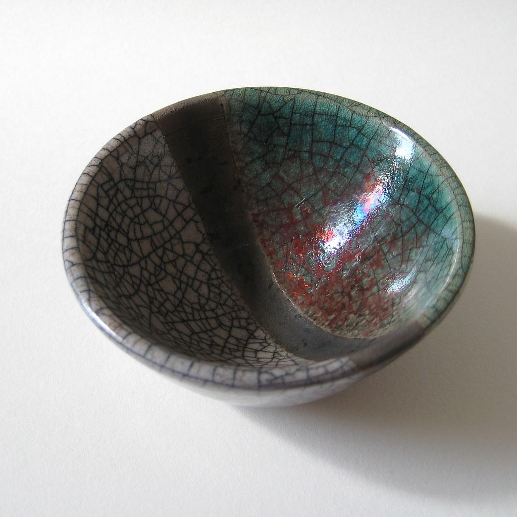Raku Bowl (turquoise, white and black stripe)