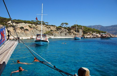 swimming in the deep blue mediterranean, kalkan boat trip