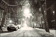 Snowflake Apparition on a Morning Street (Linus Gelber) Tags: nyc morning trees snow newyork cars brooklyn streetlights snowy snowdrift snowstorm brooklynheights explore lensflare firstsnow frontpage statestreet weehours canon28135mmisusm gsubby122109