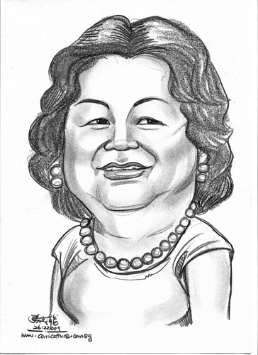 lady caricature in pencil