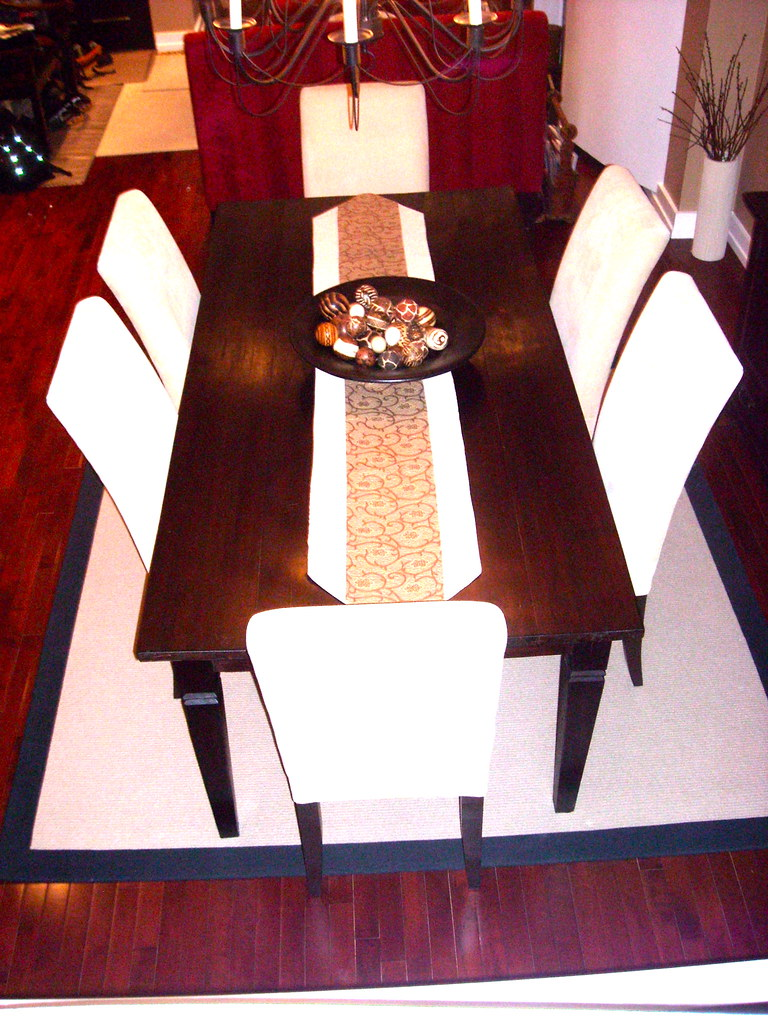 Teak Wood Dinning Table plus 6 Ultra Suede Cream Chairs