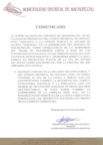 Comunicado Municipalidad Distrital de Machu Picchu