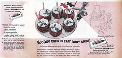 Voodoo and Chewing Gum Are Naturals Together (clotho98) Tags: party 1955 halloween strange illustration vintage magazine gum weird fifties drink coconut cinnamon ad beverage banana ephemera advertisement icecream
