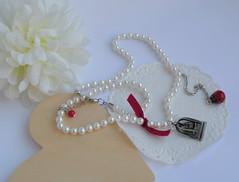 Colar C869 (BijouxKa) Tags: red white color cute bird glass silver handmade lace jewelry bijuteria velvet pearls ladybird ribbon colar pendant piu adjustable valentinesday neclace coleco bijouxka ddosnamorados