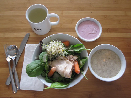 Mushroom soup, Pork roast salad, lemonade, berry mousse