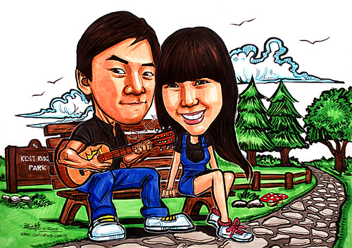 Couple caricatures in park playing guitar