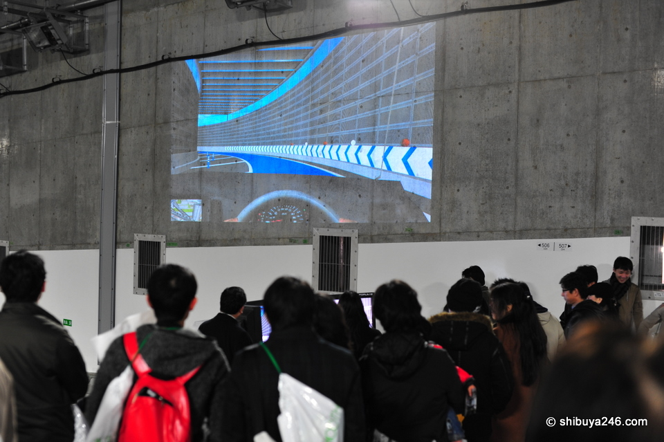 There was a video racing game set up for the kids with the screen projected on to the tunnel wall. The sound of the racing cars echoed through the tunnel which was a nice effect.