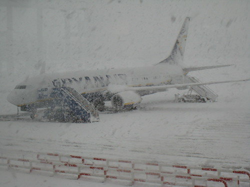 Girona airport during snowstorm