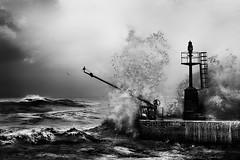 Rage (Effe.Effe) Tags: sea bw mer monochrome pier mare bn splash vagues molo breakwater onde tempesta seastorm mareggiata vawes