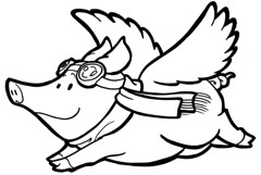 Drawing of a flying pig