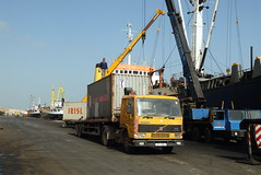 TRUCKING IN CYPRUS (Claude  BARUTEL) Tags: sea truck turkey island volvo boat mediterranean harbour transport cyprus partition divided trucking containers famagusta