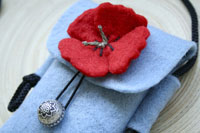 light sky and poppy... wool felt mini purse