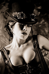 DSC_6660 (the PhotoPhreak) Tags: woman girl leather female fetish vintage studio costume clothing model war cosplay victorian dressup fantasy latex corset heroes cleavage makebelieve buckles villians pretend steampunk