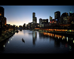 A walk in the evening (Yug_and_her) Tags: city travel sky reflection water silhouette skyline buildings river lights evening boat twilight nikon waves sailing skyscrapers australia melbourne victoria yarra sailor d90