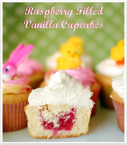 Raspberry Filled Vanilla Cupcakes by Tidy Mom