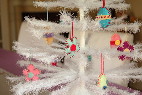 Easter feather tree ornaments.