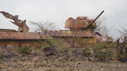 Rusting tanks left in the bush