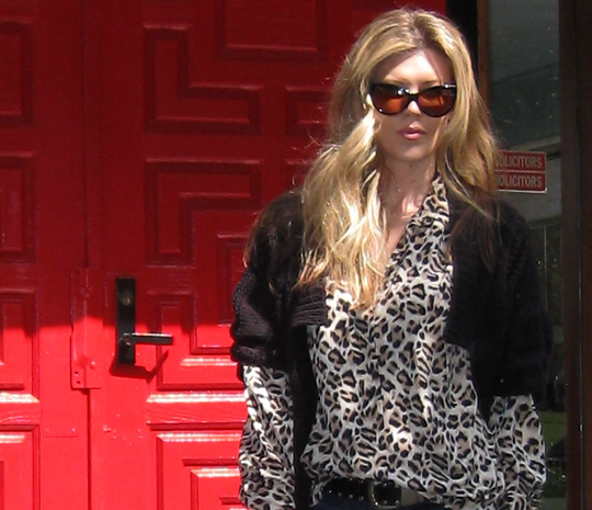 leopard blouse+cat eye sunglasses+red door+hair