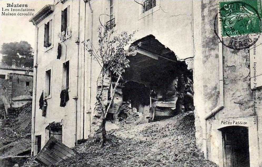 maison écroulée à Béziers après la crue du 7 novembre 1907