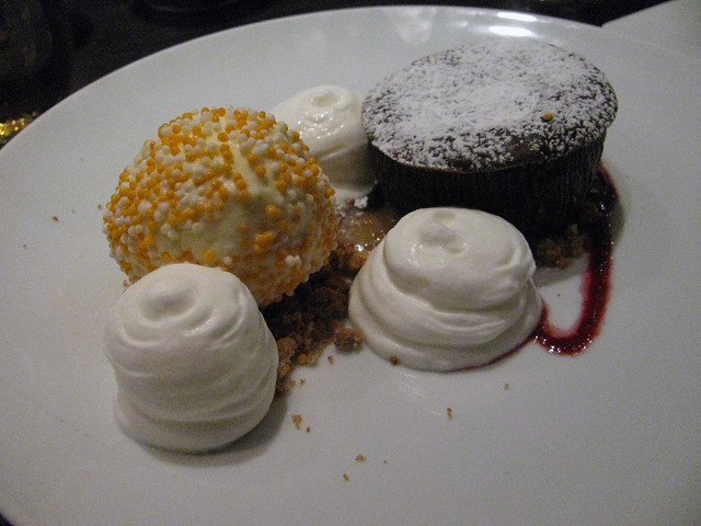 chocolate cake, yuzu ice cream