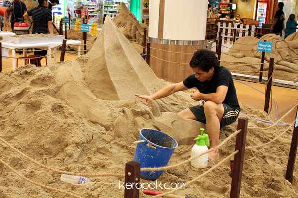 Sand sculptures in a mall