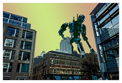 The Iron Giant (tim constable) Tags: irongiant robot starwars k2so k2s0 lego tecnic droid attack giant futuristic scifi sciencefiction city scape scene view london skyline skyscraper cityoflondon uk england timconstable dawn sunrise sunset dusk redsky orangesky invasion overrun search lookfor theforceawakens lookout oversize urban