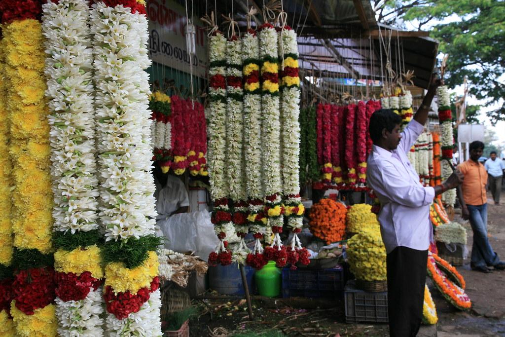 Flower Market in Coimbatore, India