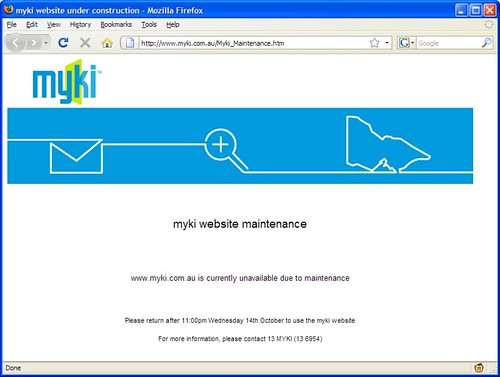 Myki web site down for maintenance