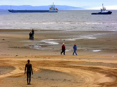 Another Place : a day in the life (* RICHARD M (Over 6 million views)) Tags: sea england water liverpool shorelines britain ships statues waterloo maritime rivers beaches shipping sculptures scapes coasts coastlines antonygormley merseyside anotherplace rivermersey ironmen liverpoolbay