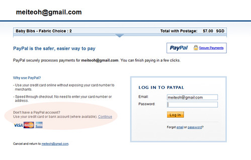 PayPal payment page 1