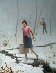 The Oath Breakers (Aron Wiesenfeld) Tags: flowers trees winter plants snow cold leaves river shopping bag dead frozen sweater weeds box erin branches aaron skirt parcel aron wiesenfeld weisenfeld wiesenfield weisenfield