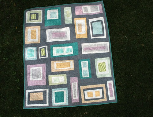 Gray Rectangles Lap Quilt